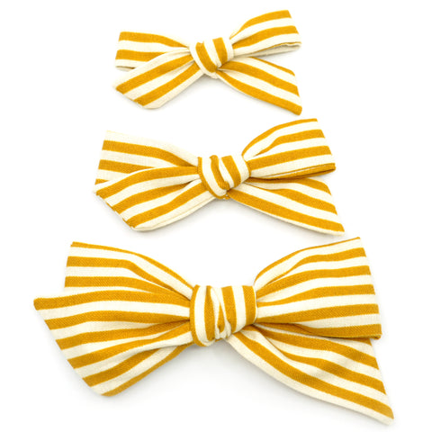 Mustard Striped Evy Bow, Newborn Headband