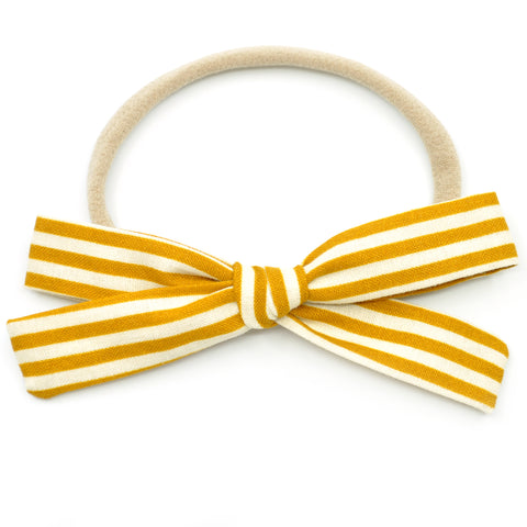 Mustard Stripe Leni Bow, Headband or Clip
