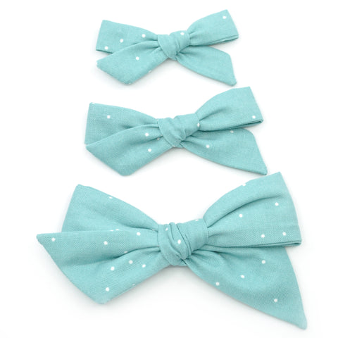 Sea-foam Polka Dot Evy Bow, Newborn Headband