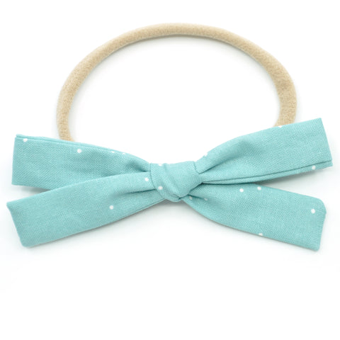 Seafoam Polka Dot Leni Bow, Headband or Clip