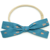 Teal & Metallic Copper Polka Dot Leni Bow, Headband or Clip