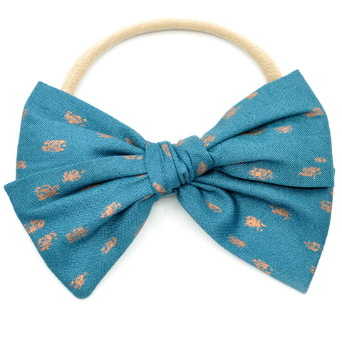 Teal with Metallic Copper Dots Rona Bow