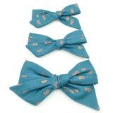 Teal & Metallic Copper Polka Dot Evy Bow, Newborn Headband