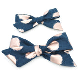 Navy & Rose Gold Polka Dot Evy Bow, Newborn Headband