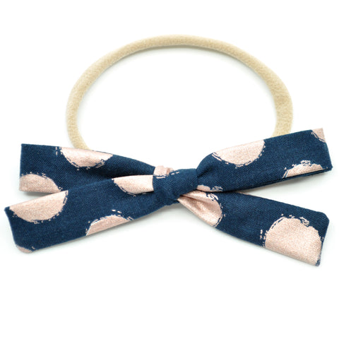 Navy & Metallic Rose Gold Polka Dot Leni Bow, Headband or Clip