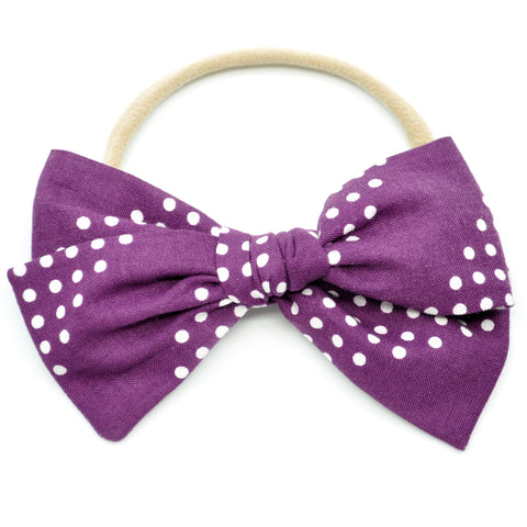 Purple and White Polka Dot Rona Bow