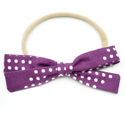 Purple & White Polka Dot Leni Bow, Headband or Clip