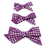 Purple & White Polka Dot Evy Bow, Newborn Headband