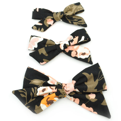 Black & Peach Floral Evy Bow, Newborn Headband