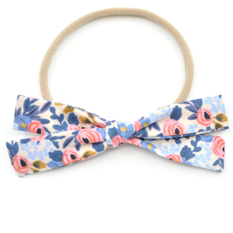 Rosa in Periwinkle Rifle Paper Co Leni Bow, Infant or Toddler Hair Bow