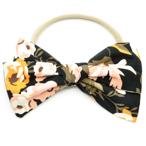 Black and Peach Floral Rona Bow