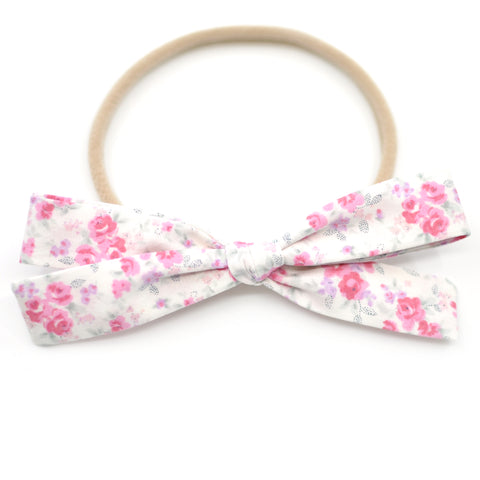 Tiny Pink Flowers Leni Bow, Infant or Toddler Hair Bow