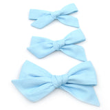 Ice Blue Evy Bow, Newborn Headband or Clip