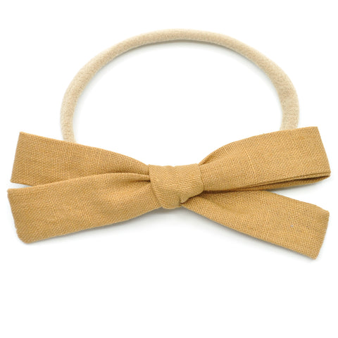 Camel Brown Linen Leni Bow, Headband or Clip