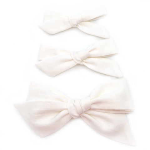 Clean White Evy Bow, Newborn Headband or Clip