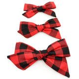 Red & Black Buffalo Plaid Evy Bow, Newborn Headband or Clip