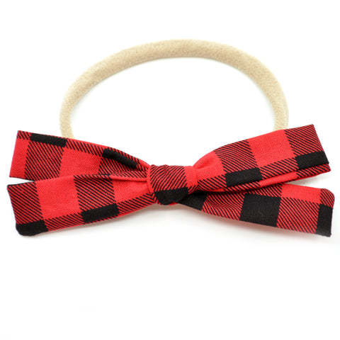 Red & Black Buffalo Plaid Leni Bow, Infant or Toddler Hair Bow