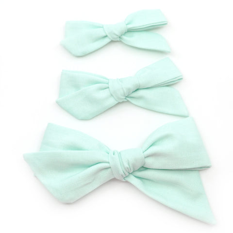 Winter Mint Evy Bow, Newborn Headband or Clip