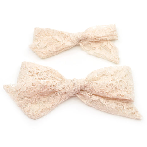 Champagne Lace Evy Bow, Newborn Headband or Clip