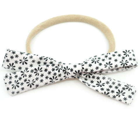 White & Black Flowers Leni Bow, Infant or Toddler Hair Bow