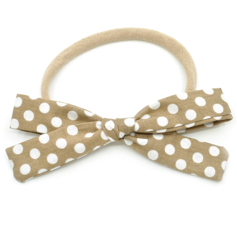 Gold & White Polka Dot Leni Bow, Infant or Toddler Hair Bow