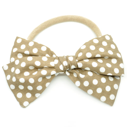 Gold & White Polka Dots Rona Bow