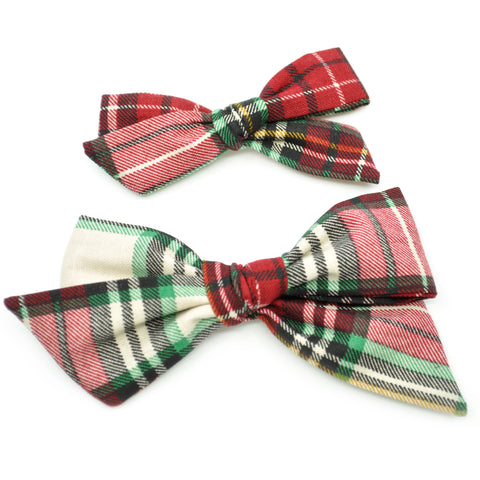 Holiday Plaid Evy Bow, Newborn Headband or Clip