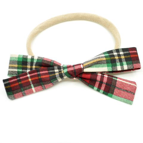 Holiday Plaid Leni Bow, Infant or Toddler Hair Bow