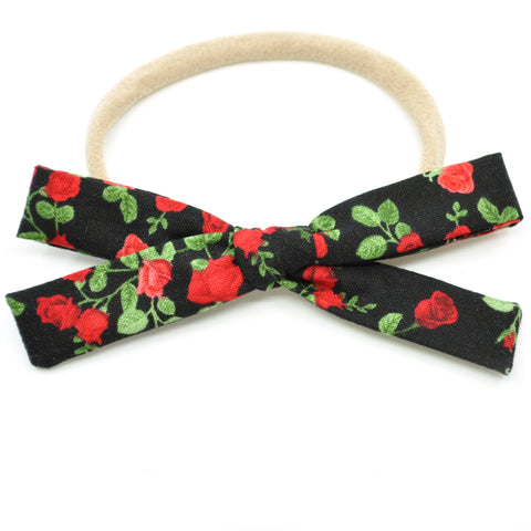 Black & Red Roses Leni Bow, Infant or Toddler Hair Bow