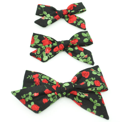 Black & Red Roses Evy Bow, Newborn Headband or Clip
