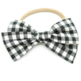 White & Black Buffalo Plaid Rona Bow