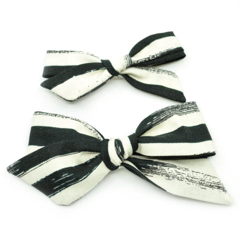 Black & Ivory Brush Strokes Evy Bow, Newborn Headband or Clip