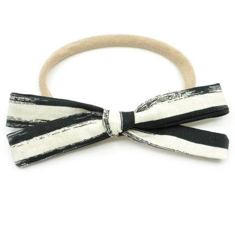 Black & Ivory Brush Strokes Leni Bow, Infant or Toddler Hair Bow