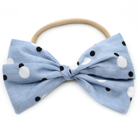 Sky Blue & Polka Dot Rona Bow