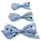 Sky Blue Polka Dot Evy Bow, Newborn Headband or Clip