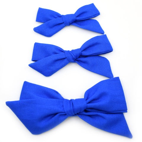 Cobalt Blue Evy Bow, Newborn Headband or Clip