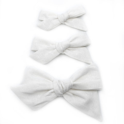 White Linen Evy Bow, Newborn Headband or Clip