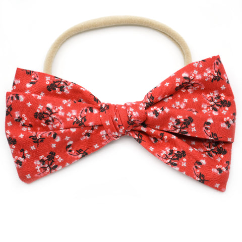 Patriotic Red Floral Rona Bow