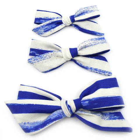 Cobalt Blue & Ivory Stripes Evy Bow, Newborn Headband or Clip