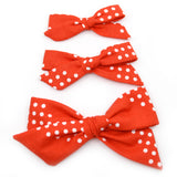 Red & White Dottie Evy Bow, Newborn Headband or Clip