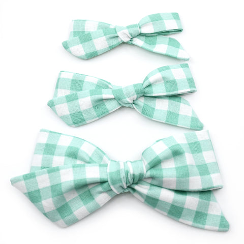 Mint Gingham Evy Bow, Newborn Headband or Clip