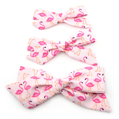 Pink Flamingos Evy Bow, Newborn Headband or Clip