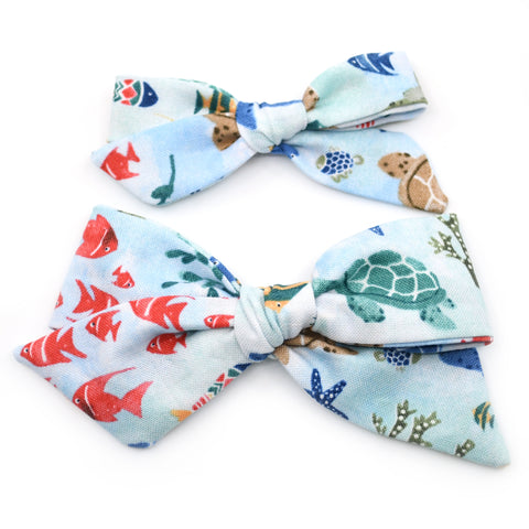 Marine Life Evy Bow, Newborn Headband or Clip