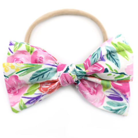 Metallic Watercolor Floral Rona Bow
