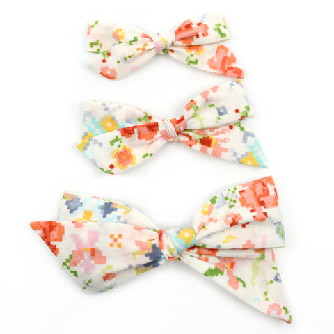 Pixel Flower Garden Evy Bow, Newborn Headband or Clip