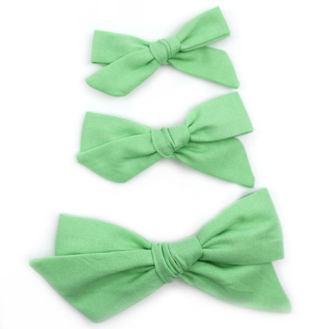 Parakeet Green Evy Bow, Newborn Headband or Clip