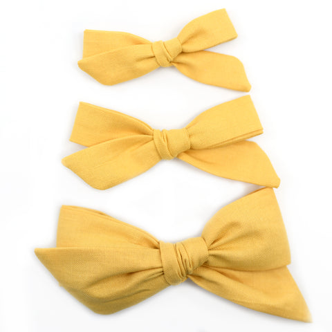 Honey Mustard Evy Bow, Newborn Headband or Clip