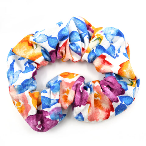 Blue, Orange, & Purple Floral Scrunchie