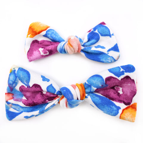 Blue, Orange, & Purple Floral Knot Bows