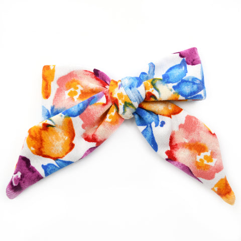 Blue, Orange, and Purple Floral Nora Bow